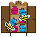 Storing honey a cartoon illustration of bees carrying jars of and it Stock Images