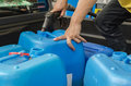 Storing oil in gallon plastic Stock Images