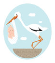 Stork and baby Royalty Free Stock Photo