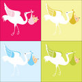 Stork with baby 4 color choices Stock Photos