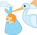 Stork and baby boy Royalty Free Stock Images