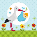 Stork with a baby boy in a bag Stock Photo