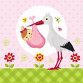 Stork with a baby girl in a bag Royalty Free Stock Photos