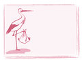 Stork with baby girl card Royalty Free Stock Photos