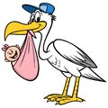 Stork with a Baby Girl Royalty Free Stock Photo