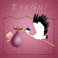 Stork with baby girl for newborn illustration of delivering Stock Images