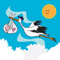 Stork bird and baby Royalty Free Stock Photos