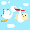 Stork and boy cheerful transfers in flight newborn baby Stock Photography