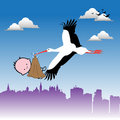 Stork bringing a baby Royalty Free Stock Photography