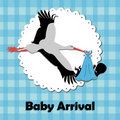 Stork bringing a baby Stock Photo