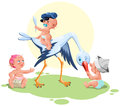The stork brought young children illustration in vector format Royalty Free Stock Photo