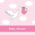 Stork carrying a baby girl arrival announcement card Stock Image