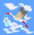 Stork carrying infant in beak Royalty Free Stock Photos