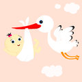 Stork and girl cheerful transfers in flight newborn baby Royalty Free Stock Image