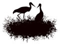 Stork nest illustration of silhouette over white background Royalty Free Stock Photo