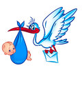 Stork and newborn baby Stock Images