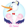 The stork with twins girls