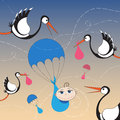 Storks and baby with parachute cartoon Stock Photos