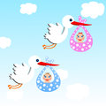 Storks carry babies on a background blue sky illustration raster Royalty Free Stock Photo