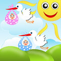 Storks carry babies on a background blue sky illustration raster Royalty Free Stock Photos