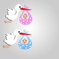 Storks carry babies on a grey background illustration raster Royalty Free Stock Photo