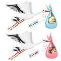 Storks with little boy and girl cartoon Royalty Free Stock Photography