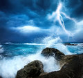 Storm beginning with lightning Royalty Free Stock Photo