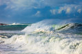 Storm and the big waves of sea Royalty Free Stock Image