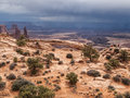 Storm clouds gather in desert Royalty Free Stock Photo