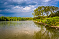 Storm clouds over Centennial Lake, at Centennial Park, in Columb Royalty Free Stock Photo
