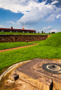 Storm clouds over fort mchenry baltimore maryland summer Royalty Free Stock Image