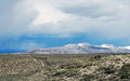 Storm clouds over mono lake and mountains Royalty Free Stock Photo