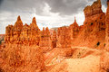 Storm clouds over navajo loop trail in bryce canyon a summer gathers above the scenic n p Stock Image