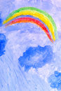 Storm, clouds, rain and rainbows. watercolor Royalty Free Stock Photos