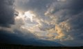 Storm clouds at sunset. Royalty Free Stock Photo