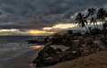 Storm clouds at sunset on the Hawaii beach Royalty Free Stock Photo