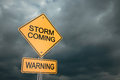 Storm coming yellow road warning sign d render Stock Image