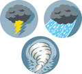 Storm icons different of storms and a tornado Stock Image