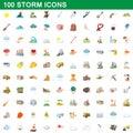 100 storm icons set, cartoon style