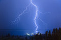 Storm lightning on the river volga Stock Photos