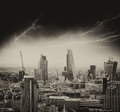 Storm in london bad weather over city skyline Royalty Free Stock Images