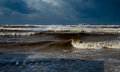 Storm on the mediterranean sea a lot of waves and the water dark Royalty Free Stock Images
