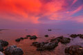 Beautiful sunset over Adriatic Sea, with beautiful dramatic cloudscape Royalty Free Stock Photo