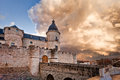 Storm over the castle menacing in simancas valladolid spain Stock Image