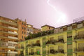 Storm over the city of palermo image shows a lightning that occured during a sicily Royalty Free Stock Images