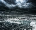 Storm over ocean dark stormy sky with big waves Royalty Free Stock Photography