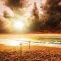 Storm over paradise the tropical beach Royalty Free Stock Photography
