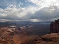 Storm and rain over red canyon with river Royalty Free Stock Photo