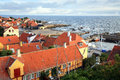 Storm on the sea gudhjem bornholm island denmark picturesque small town by early morning Stock Images