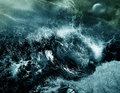 Storm on the sea rain and thunder with a wild waves in night Royalty Free Stock Images